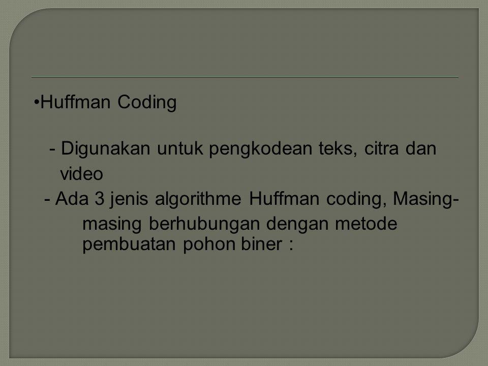 •Huffman Coding - Digunakan untuk pengkodean teks, citra dan video - Ada 3 jenis algorithme Huffman coding, Masing- masing berhubungan dengan metode pembuatan pohon biner :