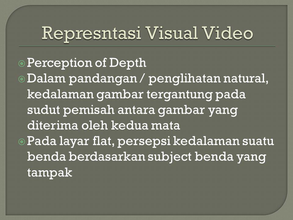  Perception of Depth  Dalam pandangan / penglihatan natural, kedalaman gambar tergantung pada sudut pemisah antara gambar yang diterima oleh kedua mata  Pada layar flat, persepsi kedalaman suatu benda berdasarkan subject benda yang tampak