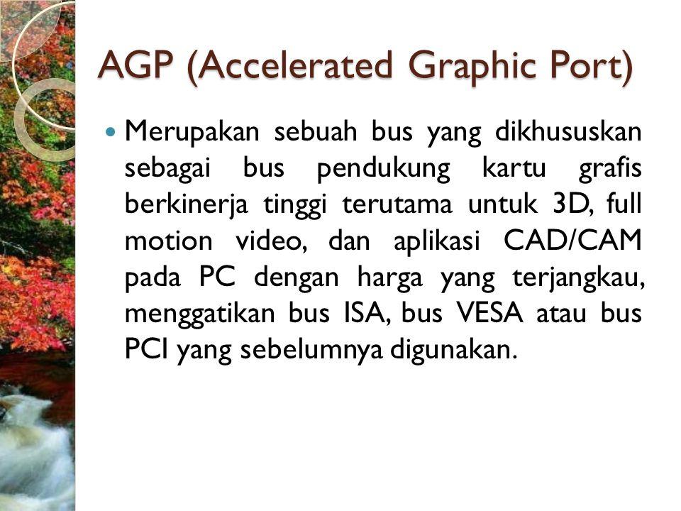 AGP (Accelerated Graphic Port)  Merupakan sebuah bus yang dikhususkan sebagai bus pendukung kartu grafis berkinerja tinggi terutama untuk 3D, full motion video, dan aplikasi CAD/CAM pada PC dengan harga yang terjangkau, menggatikan bus ISA, bus VESA atau bus PCI yang sebelumnya digunakan.