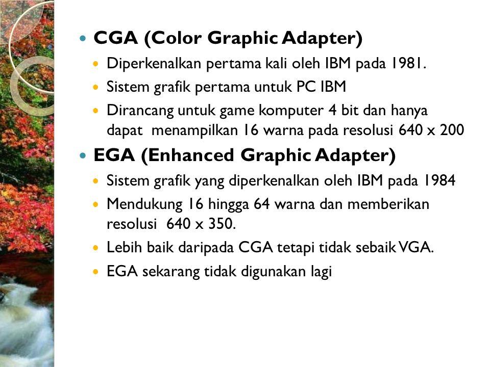  CGA (Color Graphic Adapter)  Diperkenalkan pertama kali oleh IBM pada 1981.