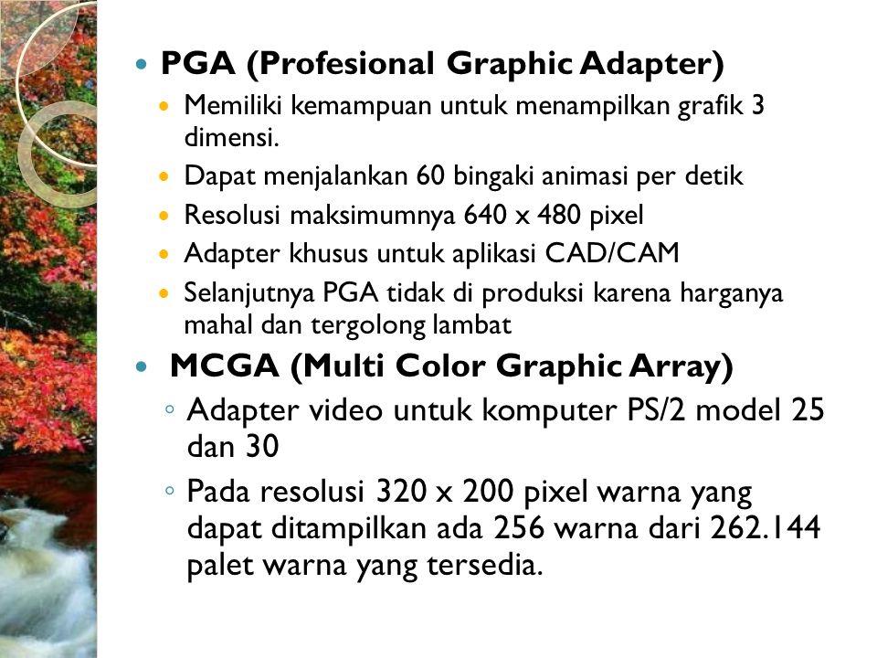  PGA (Profesional Graphic Adapter)  Memiliki kemampuan untuk menampilkan grafik 3 dimensi.