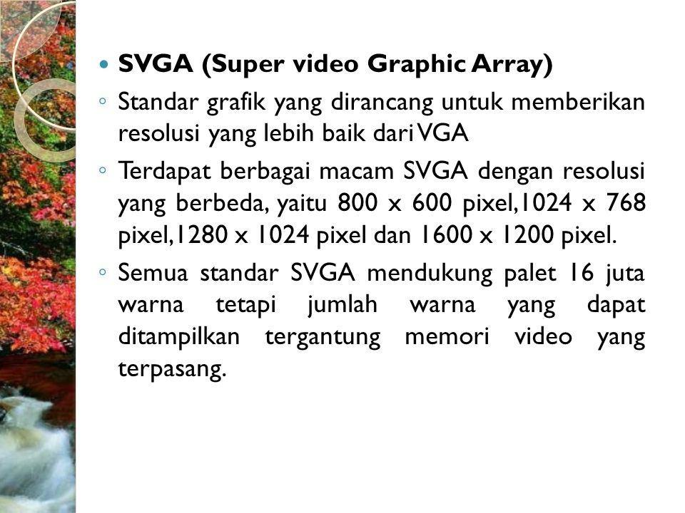  XGA (eXented Graphic Array)  Merupakan adapter keluaran terakhir yang memiliki resolusi yang paling tinggi, lebih dari 1024 x 768 pixel.