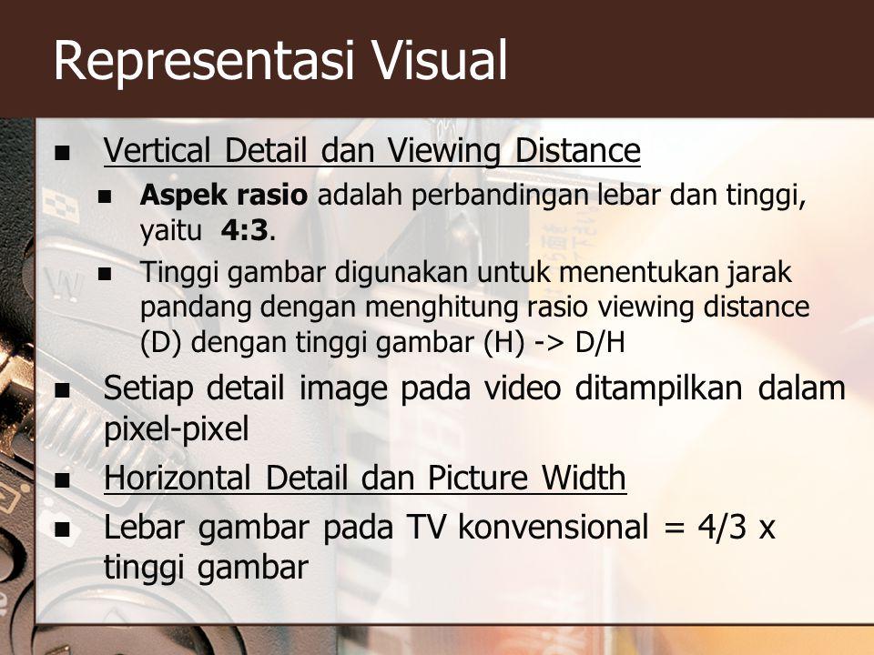 Representasi Visual  Vertical Detail dan Viewing Distance  Aspek rasio adalah perbandingan lebar dan tinggi, yaitu 4:3.  Tinggi gambar digunakan un
