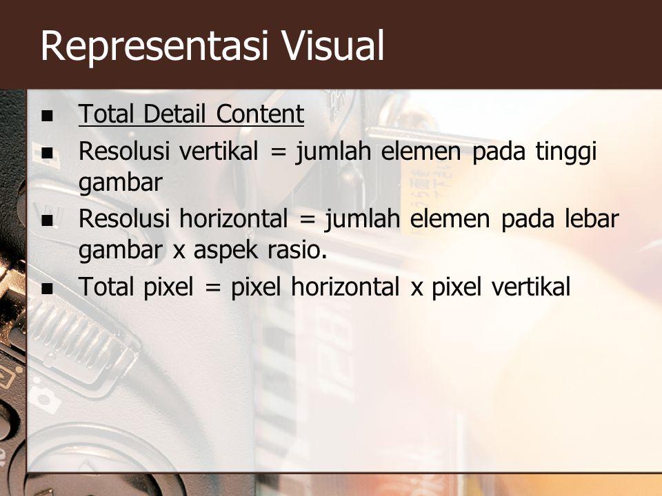 Representasi Visual  Total Detail Content  Resolusi vertikal = jumlah elemen pada tinggi gambar  Resolusi horizontal = jumlah elemen pada lebar gam