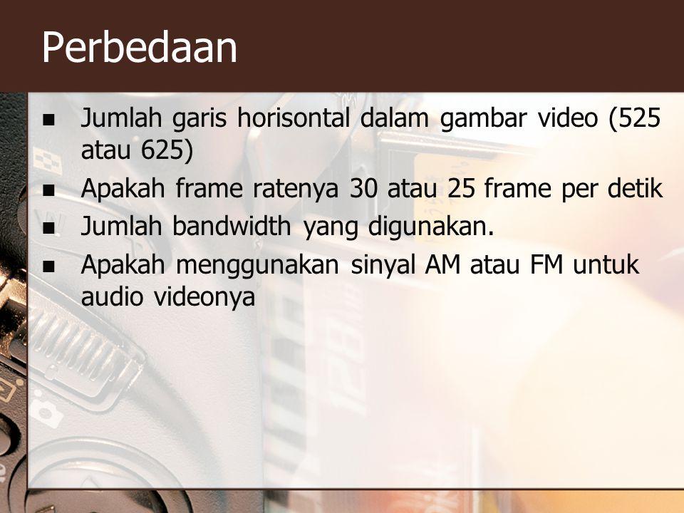 Perbedaan  Jumlah garis horisontal dalam gambar video (525 atau 625)  Apakah frame ratenya 30 atau 25 frame per detik  Jumlah bandwidth yang diguna