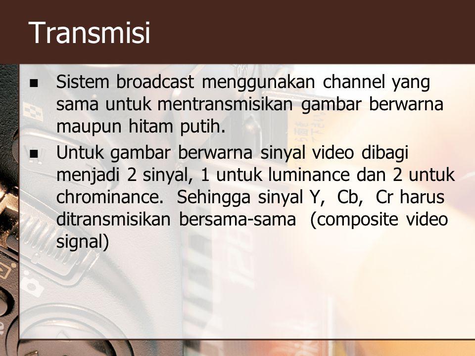 Transmisi  Sistem broadcast menggunakan channel yang sama untuk mentransmisikan gambar berwarna maupun hitam putih.  Untuk gambar berwarna sinyal vi