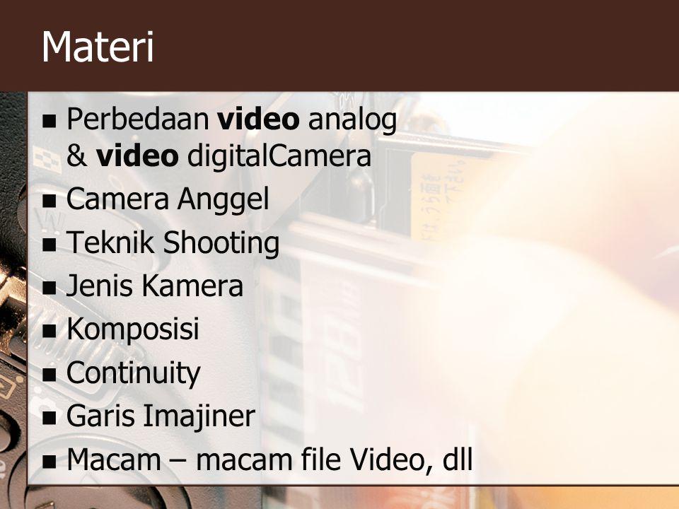 Materi  Perbedaan video analog & video digitalCamera  Camera Anggel  Teknik Shooting  Jenis Kamera  Komposisi  Continuity  Garis Imajiner  Mac