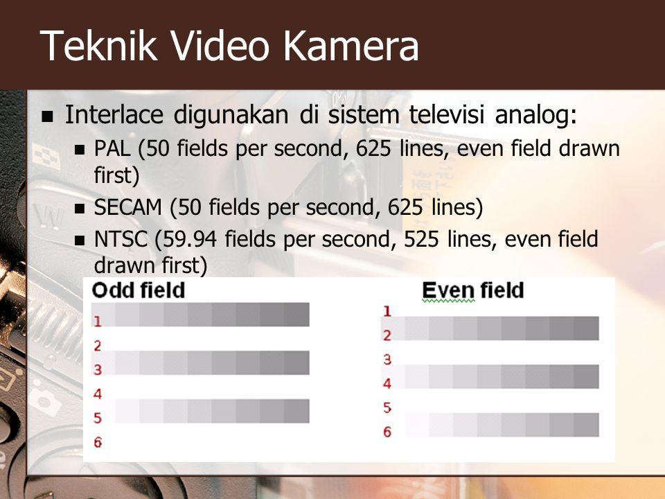  Interlace digunakan di sistem televisi analog:  PAL (50 fields per second, 625 lines, even field drawn first)  SECAM (50 fields per second, 625 li