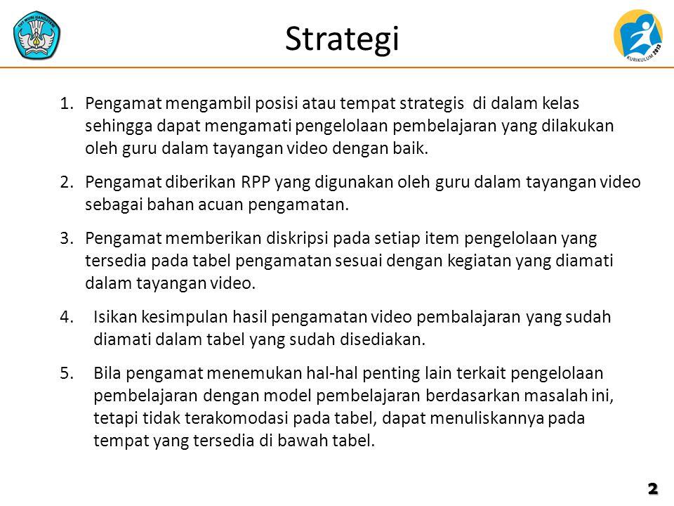 Strategi 1.Pengamat mengambil posisi atau tempat strategis di dalam kelas sehingga dapat mengamati pengelolaan pembelajaran yang dilakukan oleh guru dalam tayangan video dengan baik.