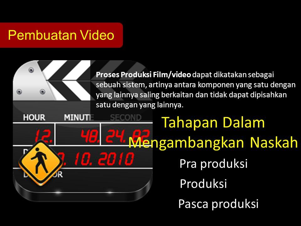 Pembuatan Video Proses Produksi Film/video dapat dikatakan sebagai sebuah sistem, artinya antara komponen yang satu dengan yang lainnya saling berkait