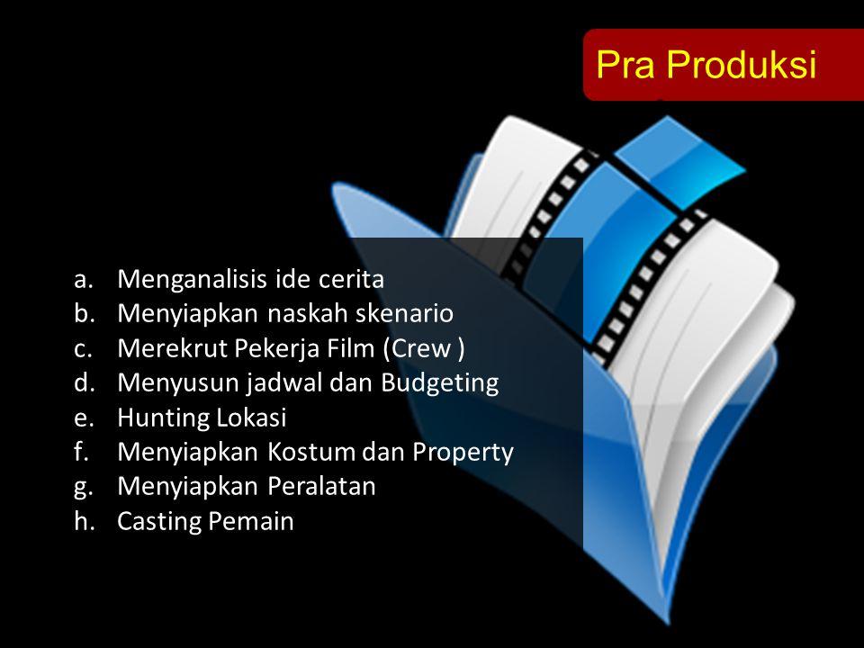 Pra Produksi a.Menganalisis ide cerita b.Menyiapkan naskah skenario c.Merekrut Pekerja Film (Crew ) d.Menyusun jadwal dan Budgeting e.Hunting Lokasi f