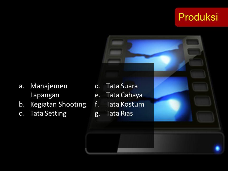 Produksi a.Manajemen Lapangan b.Kegiatan Shooting c.Tata Setting d.Tata Suara e.Tata Cahaya f.Tata Kostum g.Tata Rias