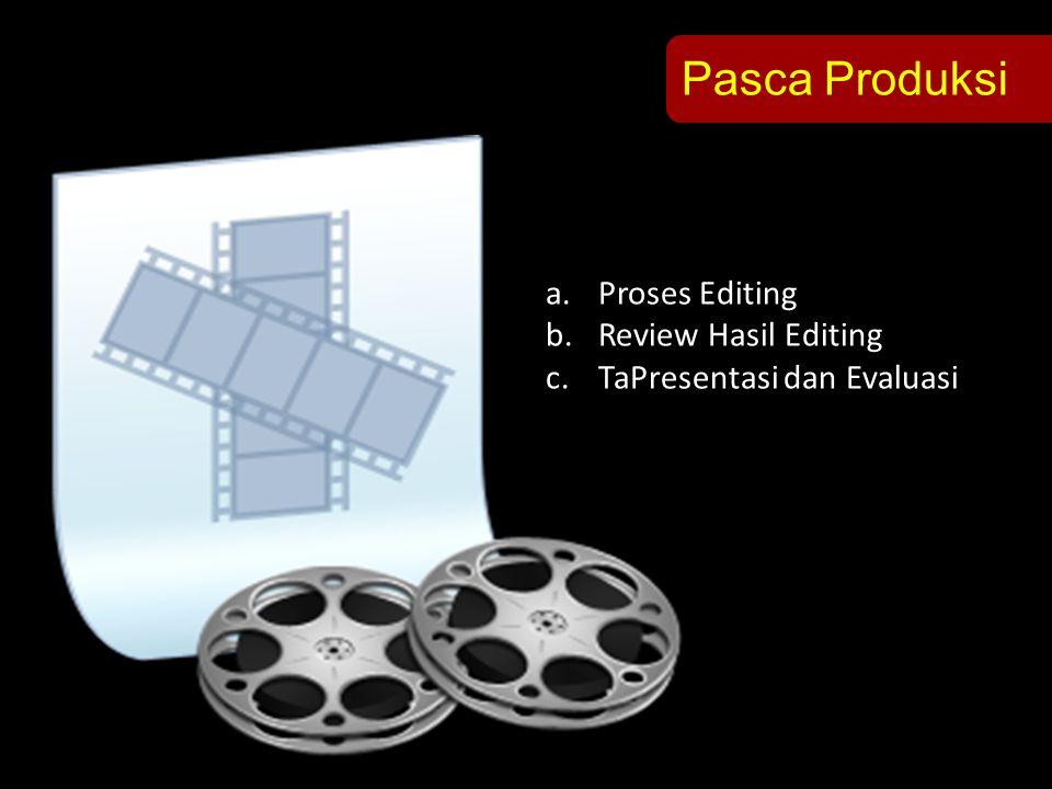 Pasca Produksi a.Proses Editing b.Review Hasil Editing c.TaPresentasi dan Evaluasi