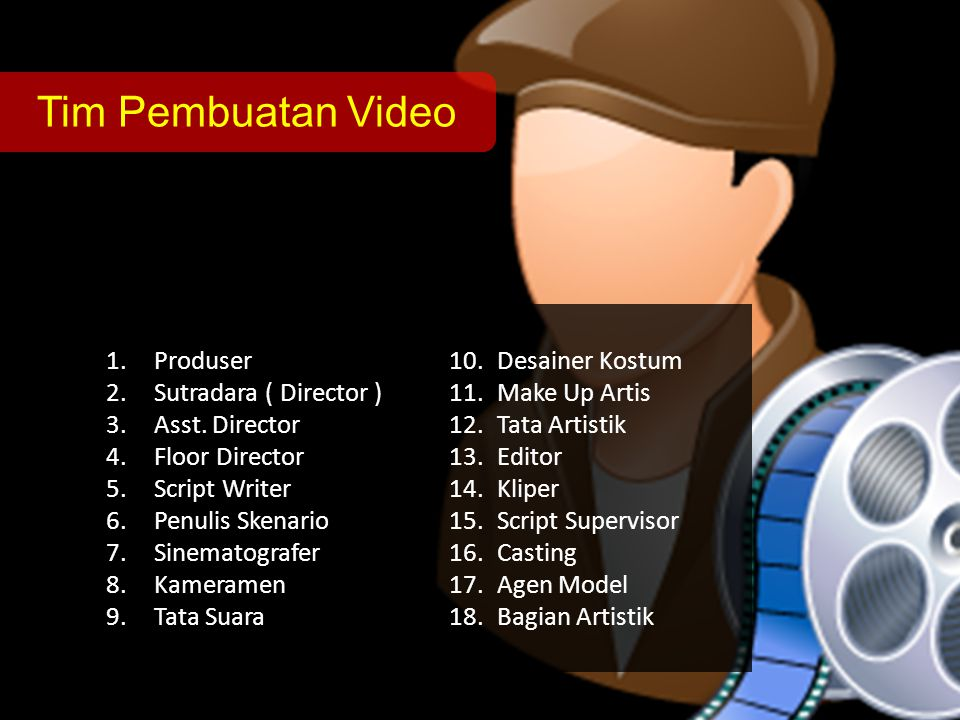 Tim Pembuatan Video 1.Produser 2.Sutradara ( Director ) 3.Asst.