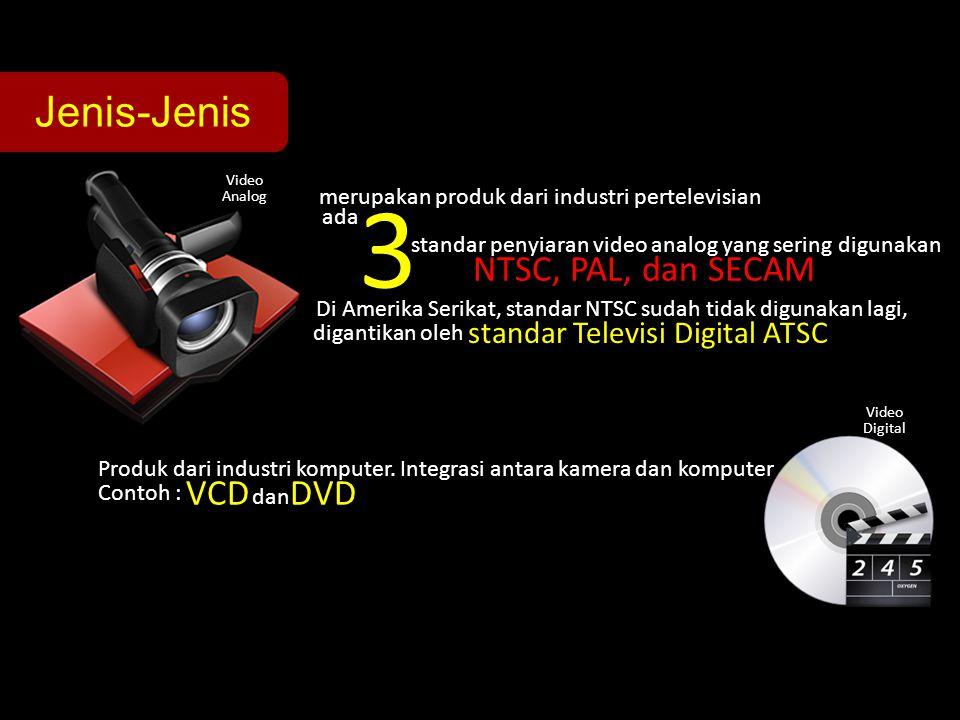 Jenis-Jenis Video Analog Video Digital merupakan produk dari industri pertelevisian standar penyiaran video analog yang sering digunakan NTSC, PAL, da