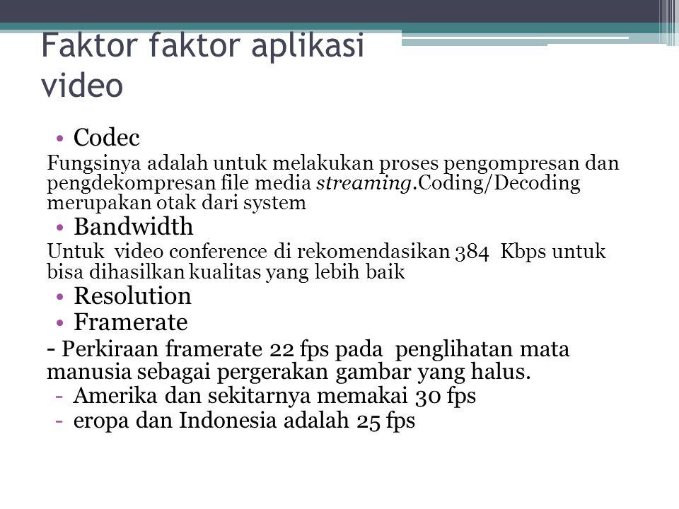 Faktor faktor aplikasi video •Codec Fungsinya adalah untuk melakukan proses pengompresan dan pengdekompresan file media streaming.Coding/Decoding meru