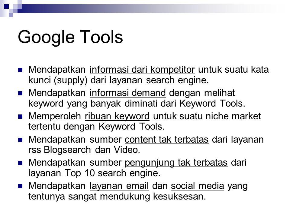 Google Tools  Mendapatkan informasi dari kompetitor untuk suatu kata kunci (supply) dari layanan search engine.  Mendapatkan informasi demand dengan