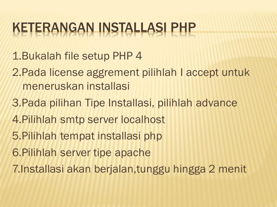 1.Bukalah file setup PHP 4 2.Pada license aggrement pilihlah I accept untuk meneruskan installasi 3.Pada pilihan Tipe Installasi, pilihlah advance 4.Pilihlah smtp server localhost 5.Pilihlah tempat installasi php 6.Pilihlah server tipe apache 7.Installasi akan berjalan,tunggu hingga 2 menit