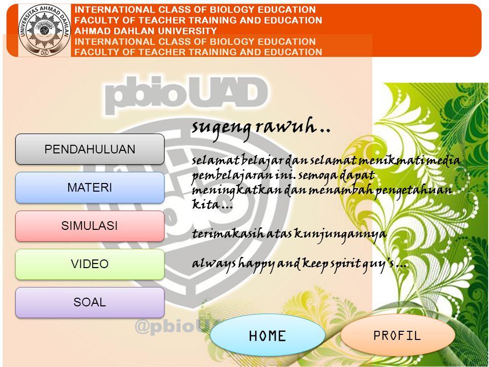 PENDAHULUAN MATERI SIMULASI VIDEO SOAL HOME PROFIL sugeng rawuh..