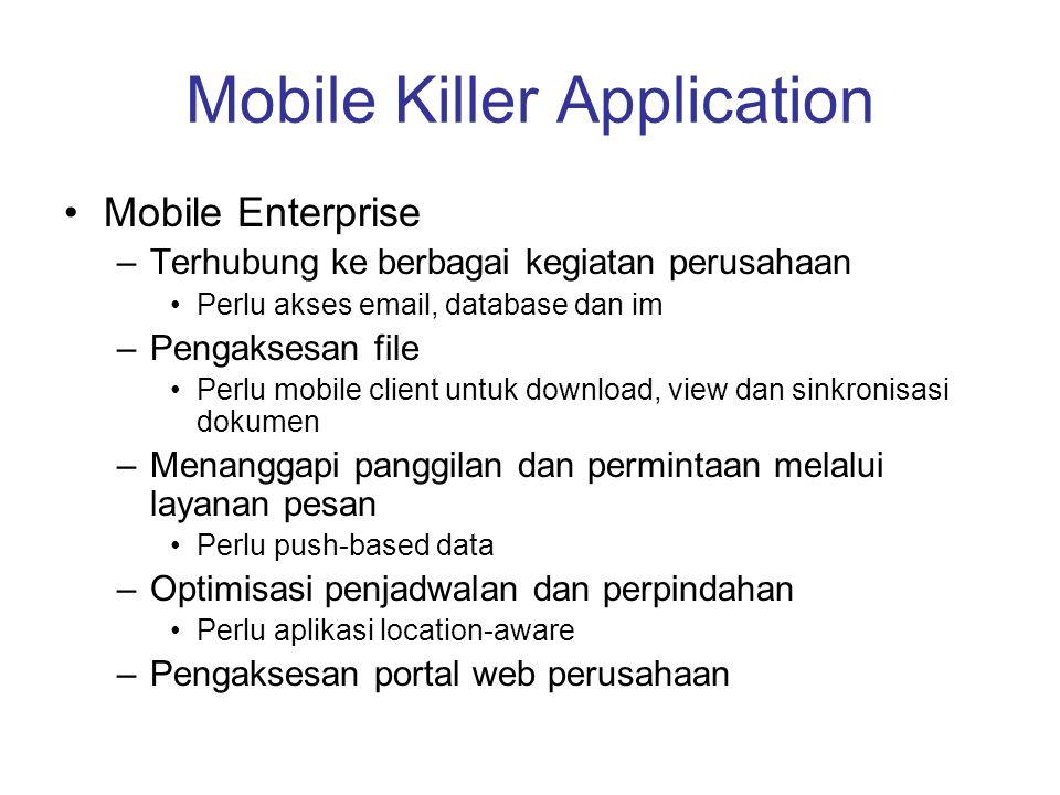 Mobile Killer Application •Mobile Enterprise –Terhubung ke berbagai kegiatan perusahaan •Perlu akses email, database dan im –Pengaksesan file •Perlu m