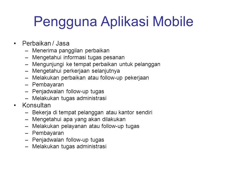 Pengguna Aplikasi Mobile •Perbaikan / Jasa –Menerima panggilan perbaikan –Mengetahui informasi tugas pesanan –Mengunjungi ke tempat perbaikan untuk pe