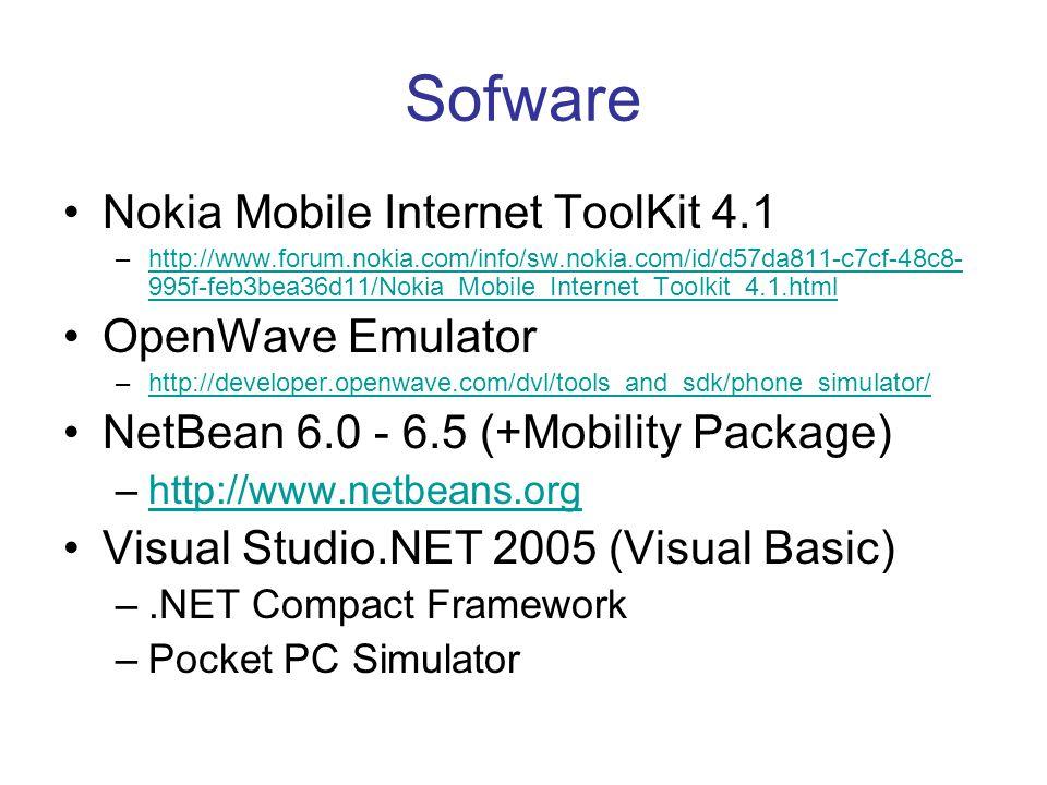 Sofware •Nokia Mobile Internet ToolKit 4.1 –http://www.forum.nokia.com/info/sw.nokia.com/id/d57da811-c7cf-48c8- 995f-feb3bea36d11/Nokia_Mobile_Interne