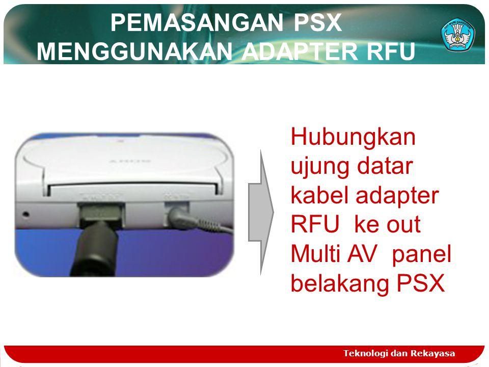 PEMASANGAN PSX MENGGUNAKAN ADAPTER RFU Teknologi dan Rekayasa Hubungkan ujung datar kabel adapter RFU ke out Multi AV panel belakang PSX