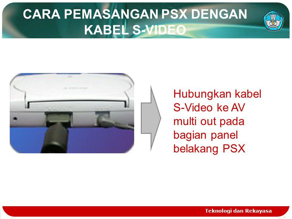 CARA PEMASANGAN PSX DENGAN KABEL S-VIDEO Teknologi dan Rekayasa Hubungkan kabel S-Video ke AV multi out pada bagian panel belakang PSX