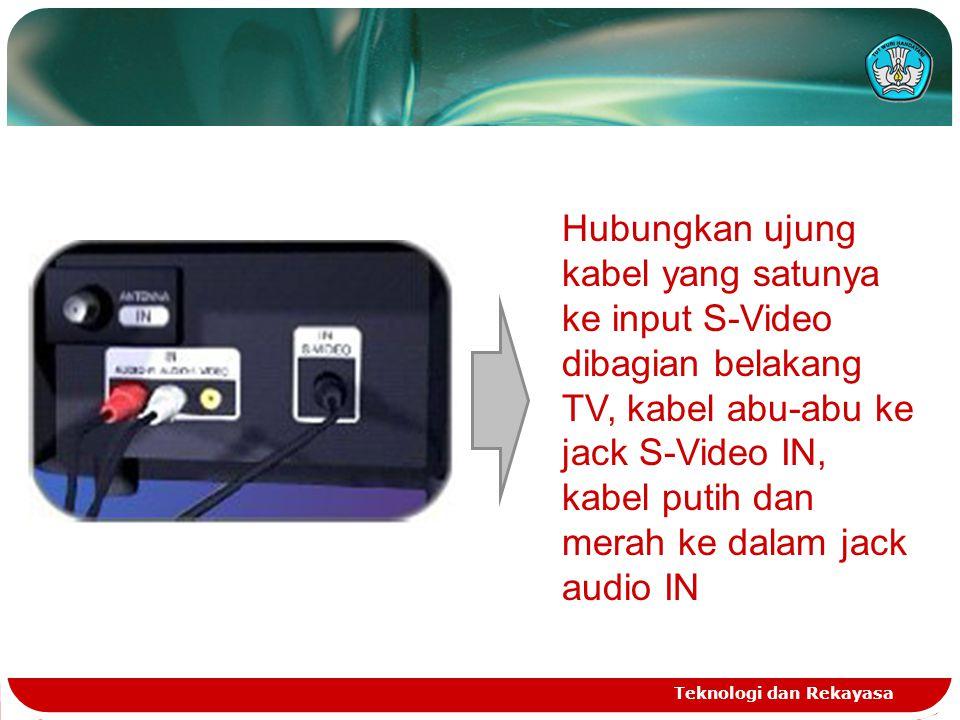 Teknologi dan Rekayasa Hubungkan ujung kabel yang satunya ke input S-Video dibagian belakang TV, kabel abu-abu ke jack S-Video IN, kabel putih dan mer