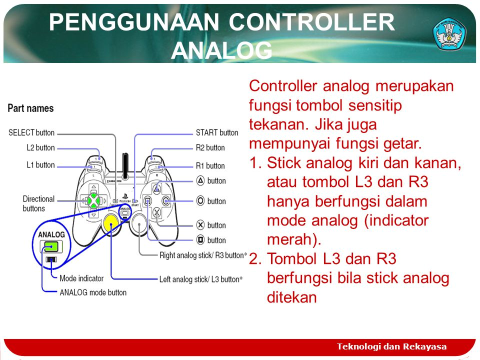 PENGGUNAAN CONTROLLER ANALOG Teknologi dan Rekayasa Controller analog merupakan fungsi tombol sensitip tekanan. Jika juga mempunyai fungsi getar. 1.St