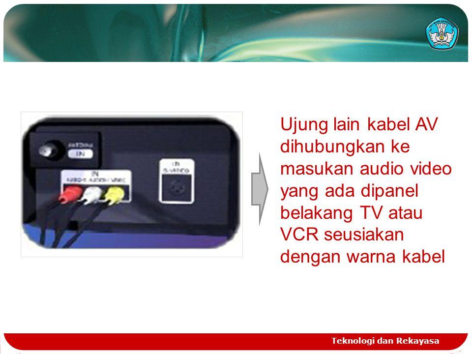 Teknologi dan Rekayasa Hubungkan ujung kabel yang satunya ke input S-Video dibagian belakang TV, kabel abu-abu ke jack S-Video IN, kabel putih dan merah ke dalam jack audio IN