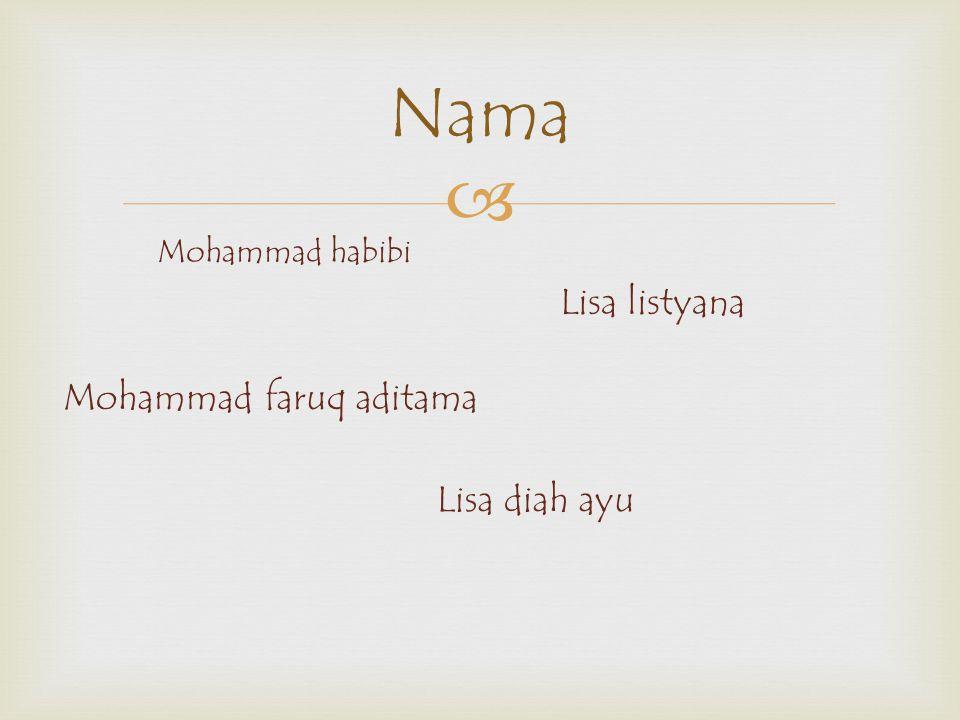  Nama Mohammad habibi Lisa listyana Lisa diah ayu Mohammad faruq aditama