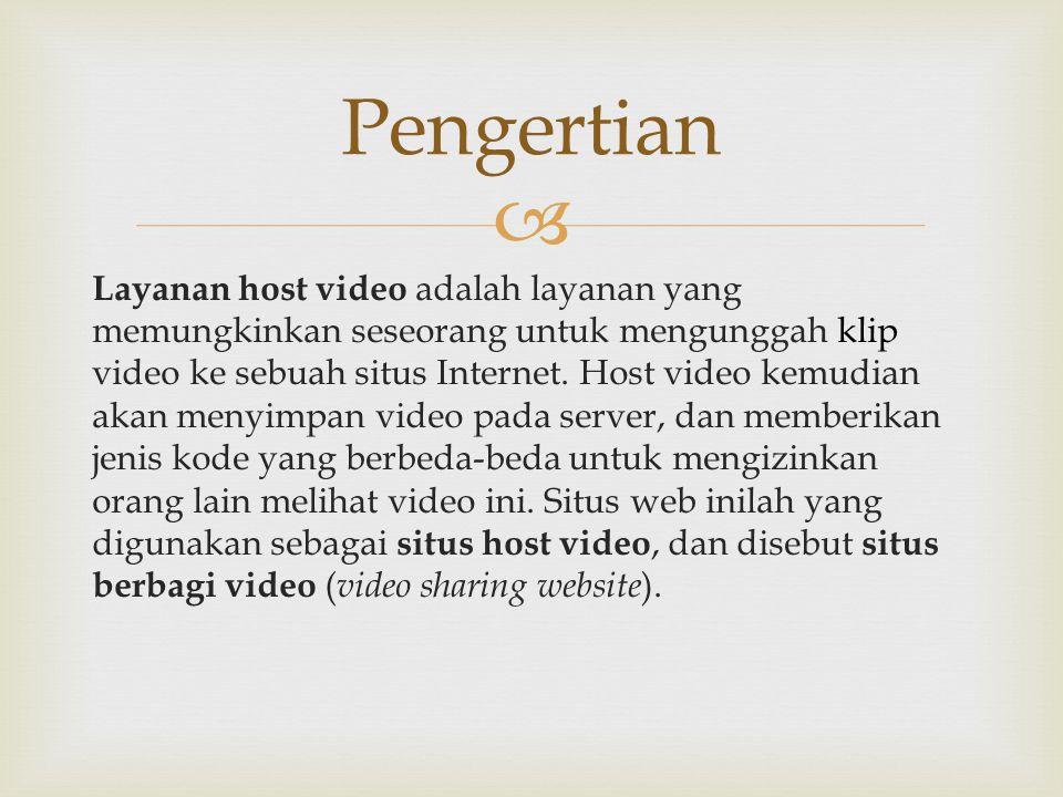  Layanan host video adalah layanan yang memungkinkan seseorang untuk mengunggah klip video ke sebuah situs Internet. Host video kemudian akan menyimp