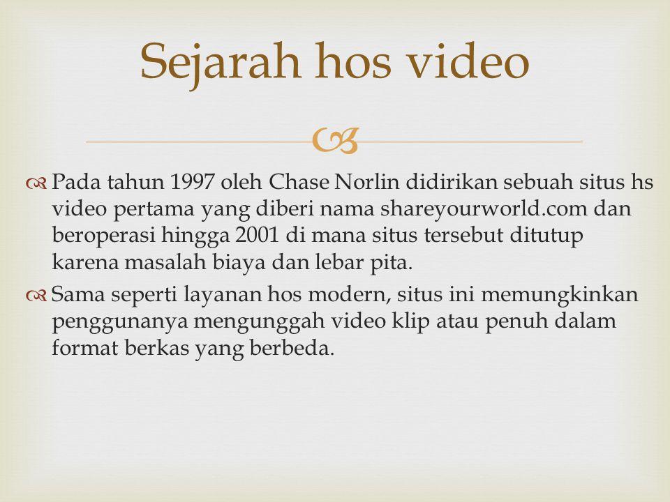   Pada tahun 1997 oleh Chase Norlin didirikan sebuah situs hs video pertama yang diberi nama shareyourworld.com dan beroperasi hingga 2001 di mana s