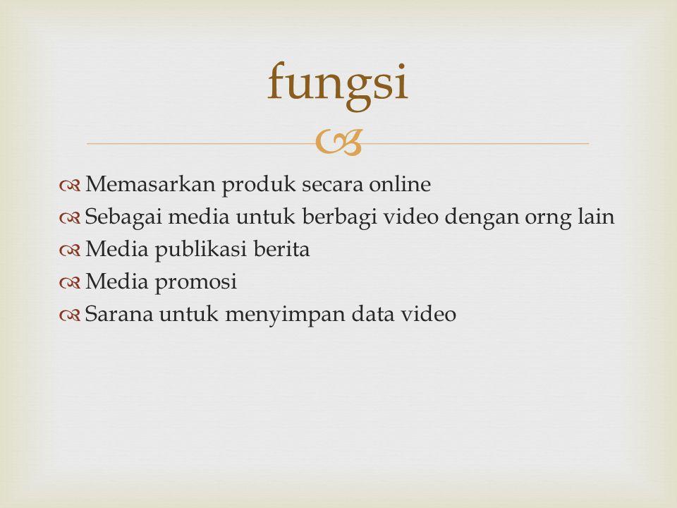   Memasarkan produk secara online  Sebagai media untuk berbagi video dengan orng lain  Media publikasi berita  Media promosi  Sarana untuk menyi