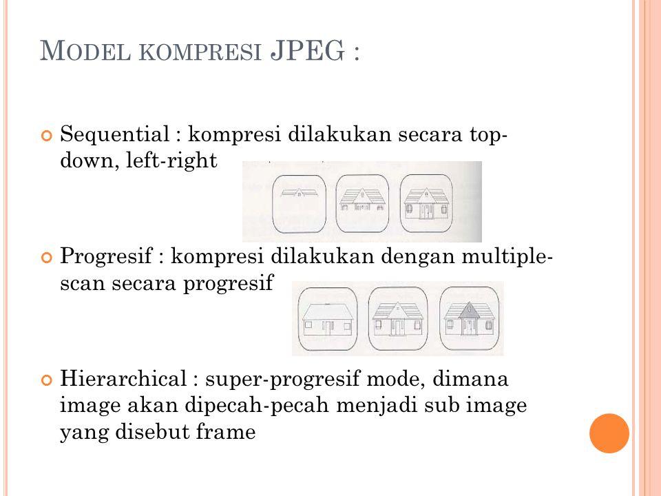 M ODEL KOMPRESI JPEG : Sequential : kompresi dilakukan secara top- down, left-right Progresif : kompresi dilakukan dengan multiple- scan secara progresif Hierarchical : super-progresif mode, dimana image akan dipecah-pecah menjadi sub image yang disebut frame