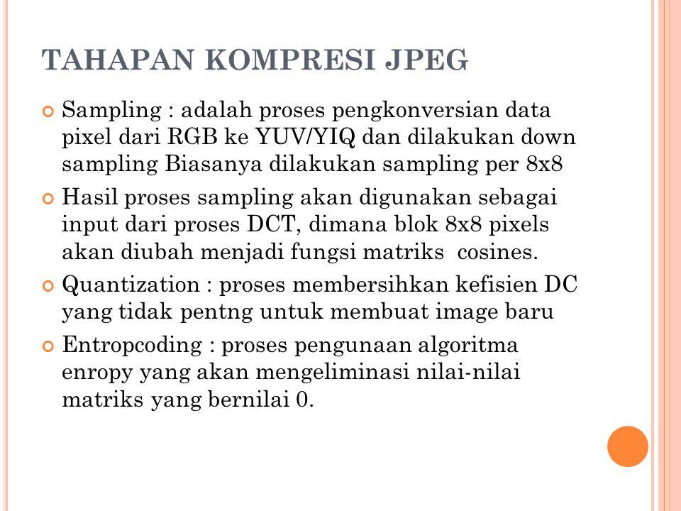 TAHAPAN KOMPRESI JPEG Sampling : adalah proses pengkonversian data pixel dari RGB ke YUV/YIQ dan dilakukan down sampling Biasanya dilakukan sampling p