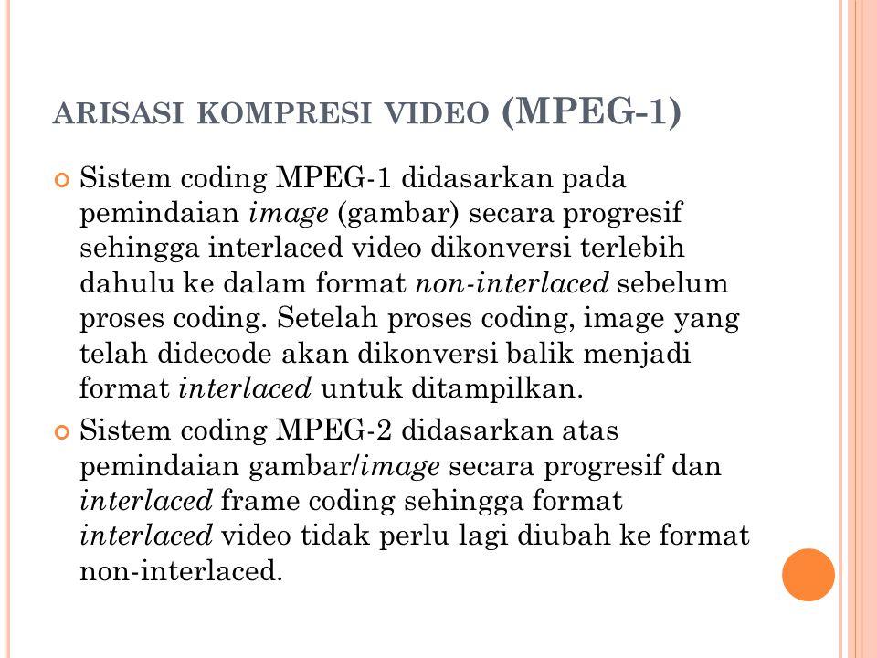 ARISASI KOMPRESI VIDEO (MPEG-1) Sistem coding MPEG-1 didasarkan pada pemindaian image (gambar) secara progresif sehingga interlaced video dikonversi terlebih dahulu ke dalam format non-interlaced sebelum proses coding.