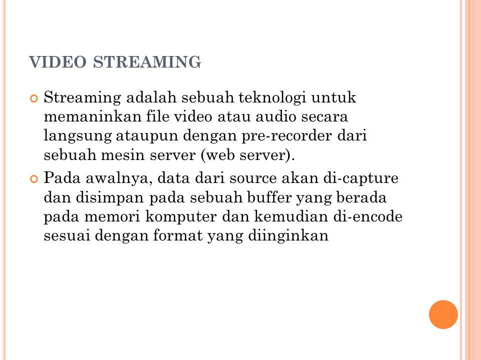 VIDEO STREAMING Streaming adalah sebuah teknologi untuk memaninkan file video atau audio secara langsung ataupun dengan pre-recorder dari sebuah mesin server (web server).