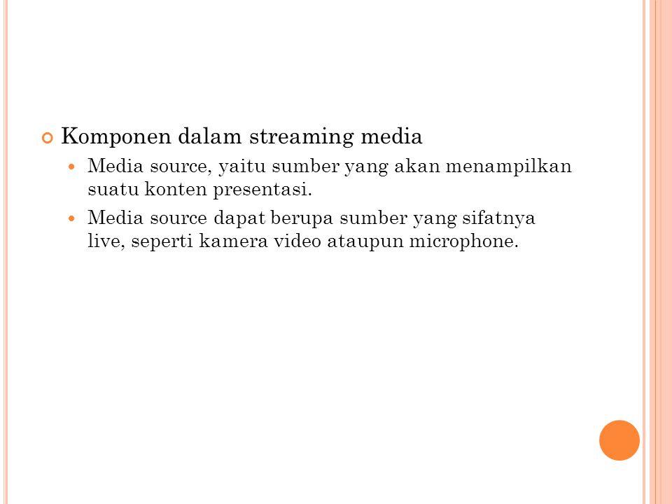 Komponen dalam streaming media  Media source, yaitu sumber yang akan menampilkan suatu konten presentasi.