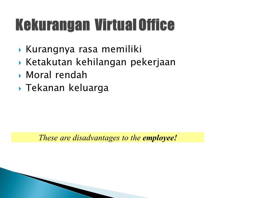  Kurangnya rasa memiliki  Ketakutan kehilangan pekerjaan  Moral rendah  Tekanan keluarga These are disadvantages to the employee!