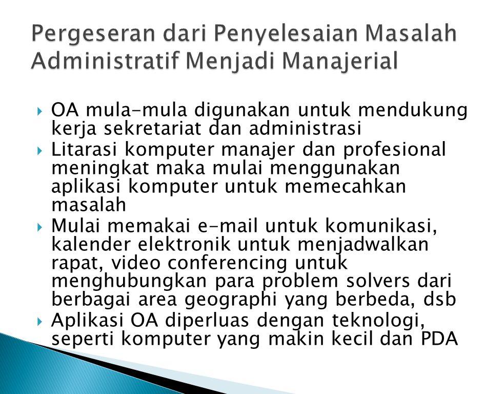  OA mula-mula digunakan untuk mendukung kerja sekretariat dan administrasi  Litarasi komputer manajer dan profesional meningkat maka mulai menggunak