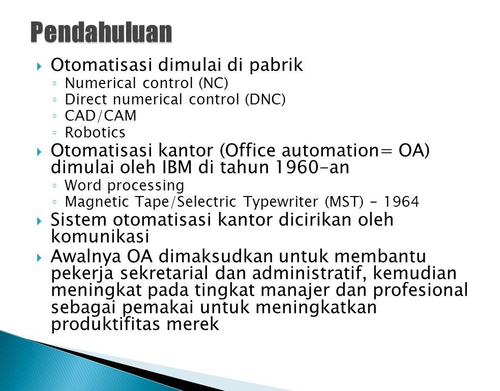 OA meliputi:  Sistem elektronik formal dan informal  Komunikasi informasi  Orang-orang di dalam dan di luar perusahaan  Digunakan oleh manager, professional, sekretaris, dan karyawan administratif ◦ manager dan profesional sering disebut knowledge workers  Yang membedakan OA dengan CBIS lain adalah komunikasi.