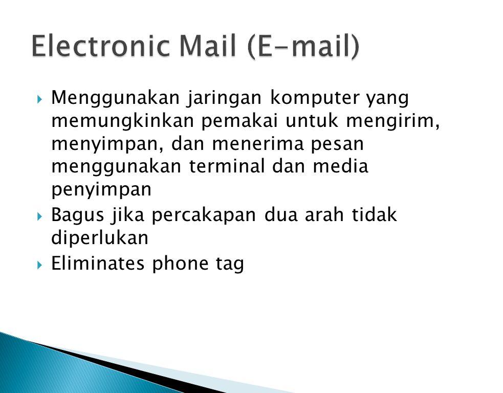  Menggunakan jaringan komputer yang memungkinkan pemakai untuk mengirim, menyimpan, dan menerima pesan menggunakan terminal dan media penyimpan  Bag