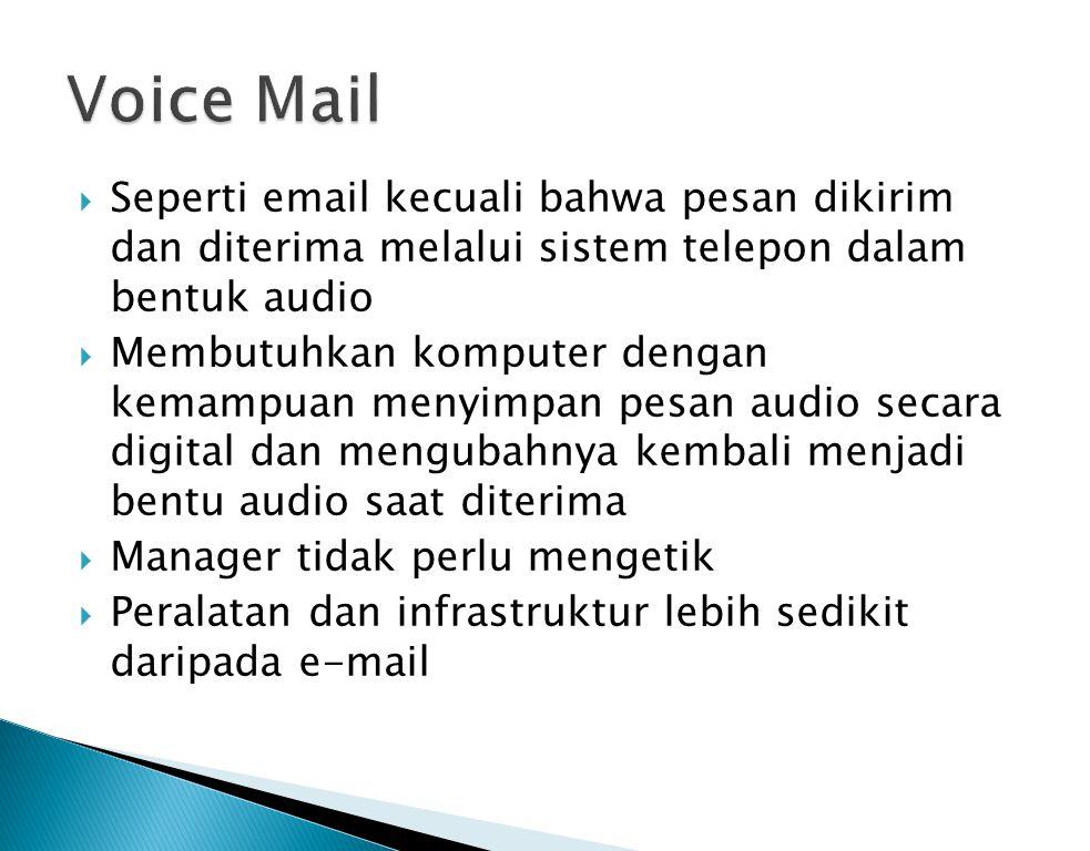  Seperti email kecuali bahwa pesan dikirim dan diterima melalui sistem telepon dalam bentuk audio  Membutuhkan komputer dengan kemampuan menyimpan p