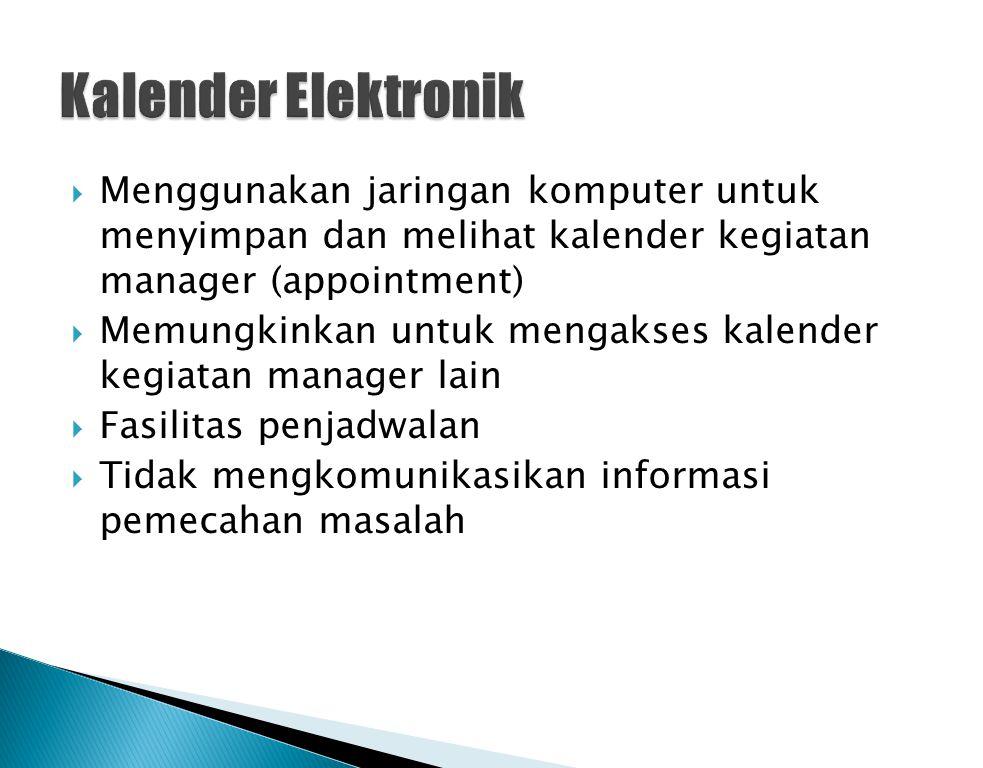  Menggunakan jaringan komputer untuk menyimpan dan melihat kalender kegiatan manager (appointment)  Memungkinkan untuk mengakses kalender kegiatan m