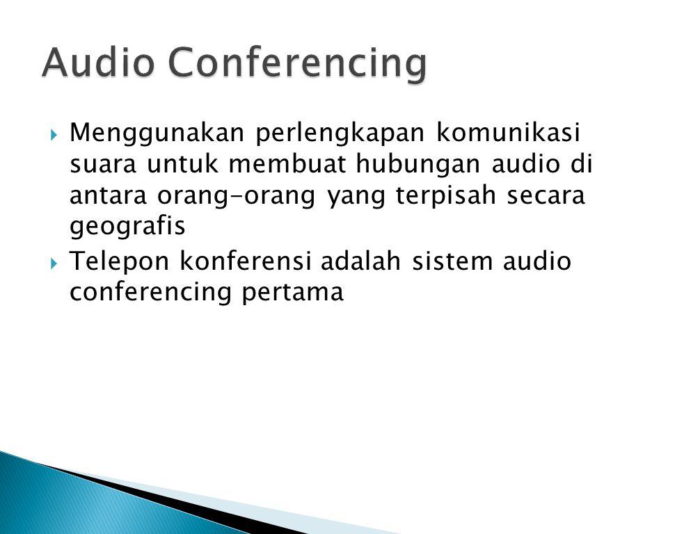  Menggunakan perlengkapan komunikasi suara untuk membuat hubungan audio di antara orang-orang yang terpisah secara geografis  Telepon konferensi ada
