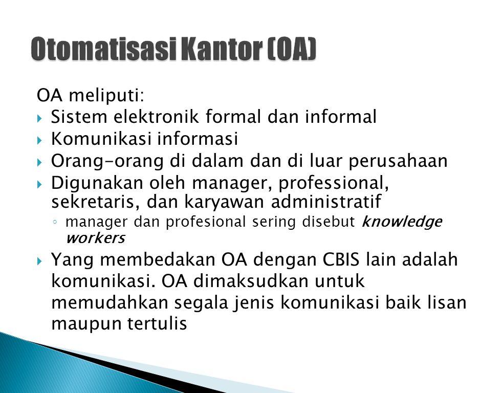 OA meliputi:  Sistem elektronik formal dan informal  Komunikasi informasi  Orang-orang di dalam dan di luar perusahaan  Digunakan oleh manager, pr