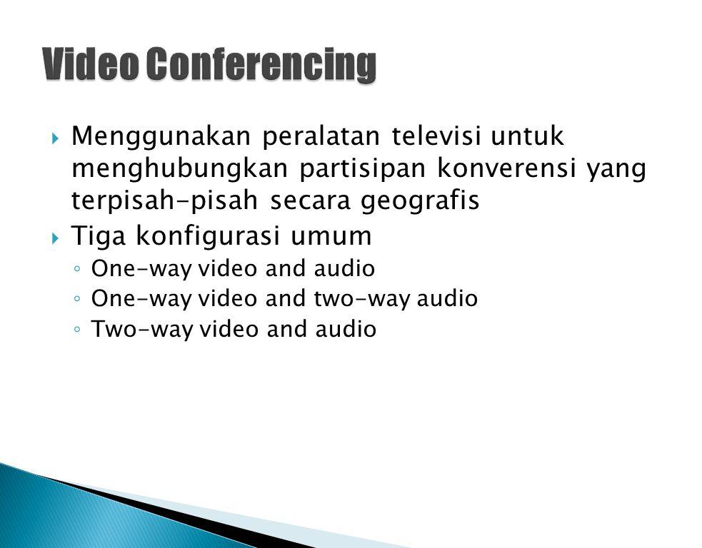  Menggunakan peralatan televisi untuk menghubungkan partisipan konverensi yang terpisah-pisah secara geografis  Tiga konfigurasi umum ◦ One-way vide