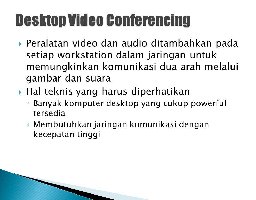  Peralatan video dan audio ditambahkan pada setiap workstation dalam jaringan untuk memungkinkan komunikasi dua arah melalui gambar dan suara  Hal t